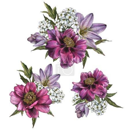 Foto de Ramos de peonías y jazmín. Set de flores de flores acuarela - Imagen libre de derechos