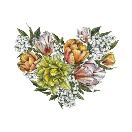 Floral greeting card with heart of flowers. Illust...