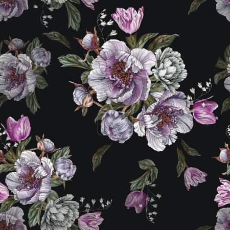 Photo for Floral seamless pattern with watercolor peonies and tulips - Royalty Free Image