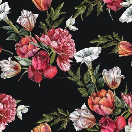 Photo pour Motif floral sans couture avec des roses aquarelles, pivoines et tulipes - image libre de droit