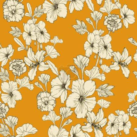 Photo pour Motif floral sans couture avec pétunias beiges et autres fleurs sur fond jaune - image libre de droit