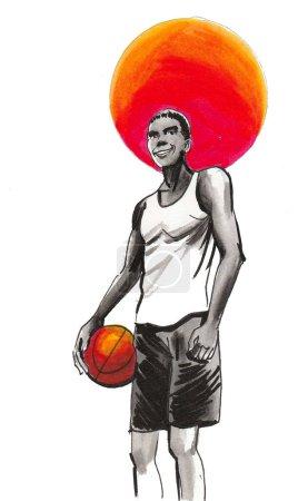 Photo pour Joueur de basket avec une balle. Croquis encre et aquarelle - image libre de droit