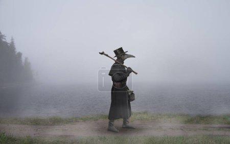 Mittelalter. der Pestarzt geht am nebligen See entlang