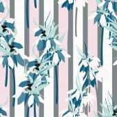 Floral vector seamless pattern with hand drawn lilies and leaves