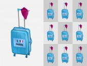 Travel to France cities with French beret and suitcases All the objects are in different layers and the text types do not need any font