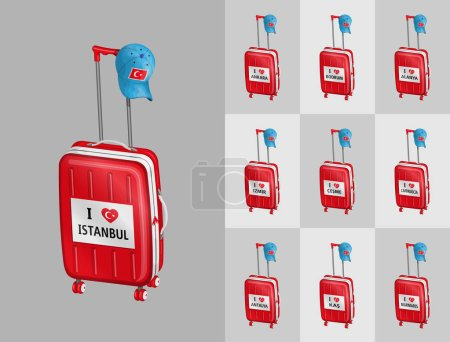 Illustration for Suitcases for travel to Turkey touristy cities with Turkish cap. All the objects are in different layers and the text types do not need any font. - Royalty Free Image