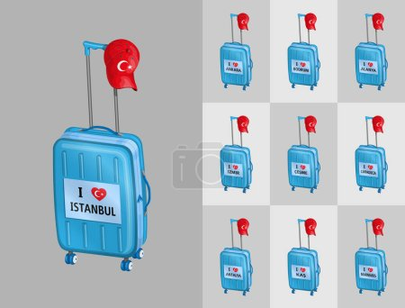 Illustration for Tourist baggages for travel to Turkey touristy cities with Turkish cap. All the objects are in different layers and the text types do not need any font. - Royalty Free Image