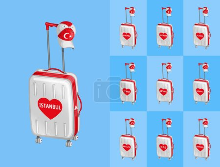 Illustration for Wheeled bags for travel to Turkey touristy cities with Turkish cap. All the objects are in different layers and the text types do not need any font. - Royalty Free Image