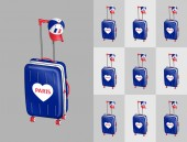 Tourist suitcases with French cap for travel to France cities All the objects are in different layers and the text types do not need any font