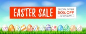 Easter sale special holiday offer Get up to 50 percent off Set of hand painted Easter eggs on green grass Blue spring sky on the background Three-dimensional vector illustration for festive sales