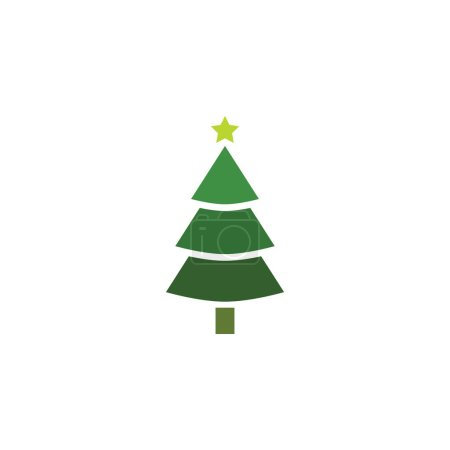 Illustration for Christmas tree. Tree icon in flat design. Xmas cartoon background. merry spruce fir. Winter illustration isolated on white. Pine - Royalty Free Image
