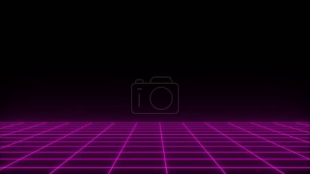 3D render synthwave wireframe net
