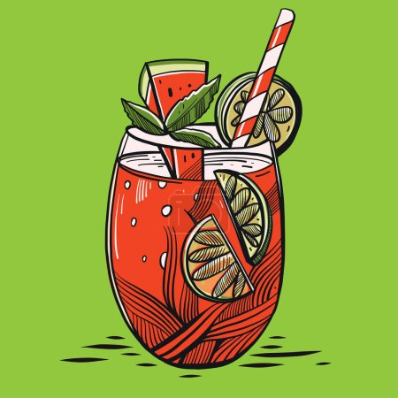 Hand drawn alcoholic co cocktail watermelon