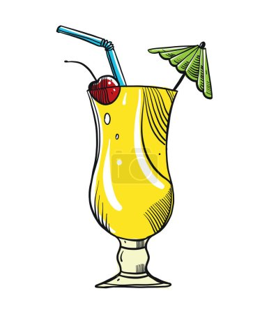 Hand drawn alcoholic cocktails isolated on white background.