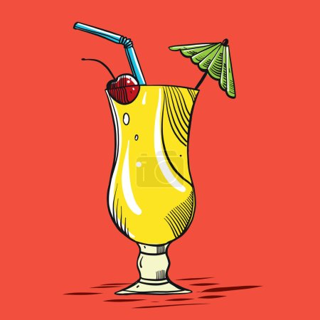 Hand drawn alcoholic cocktails isolated on background.