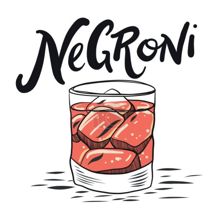 Hand drawn alcoholic cocktail isolated on background.