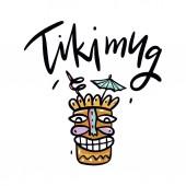 Tiki Mug summer cocktail hand drawn vector illustration Cartoon style Isolated on white background
