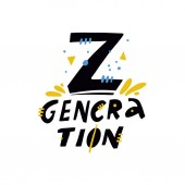 Generation Z Hand drawn vector lettering quote Cartoon style Isolated on white background
