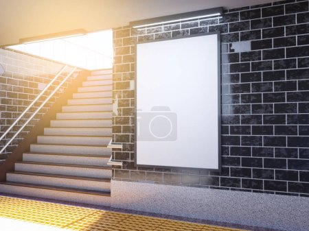 Photo for Mock up poster media template ads display in Subway station. 3d illustration, rendering underground,  up,  wall,  white - Royalty Free Image