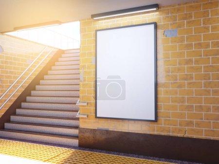 Photo pour Maquette affiche les annonces de modèle media affichent dans le métro. illustration 3D, rendering souterrain, vers le haut, mur, blanc - image libre de droit