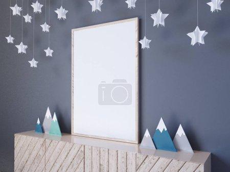 Photo pour Modélisation murale intérieure avec poster, étoiles en papier, oreillers et nuages bleus sur fond blanc, rendu 3D, illustration 3D, blanc, hiver - image libre de droit