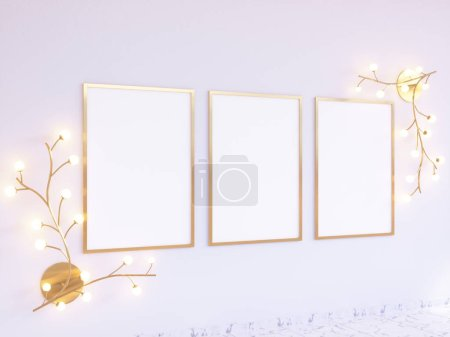 Photo for Poster Mock-up, Mock-up Template On Isolated White Background, Ready For Your Design, 3D Illustration. trees,  up,  wall,  white - Royalty Free Image
