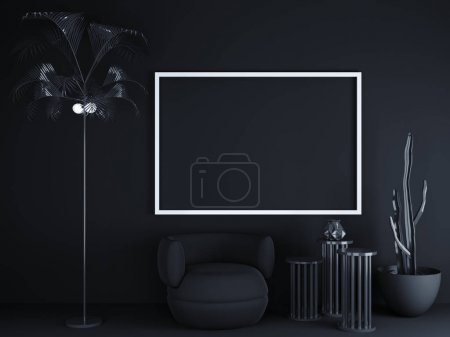 Photo for Frame on black background with empty space. 3D rendering. mockup interior  illustration. template,  tropical,  up,  view,  visit,  wall,  white - Royalty Free Image