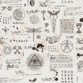 Vector seamless background on the theme of mysticism magic religion and the occultism with various esoteric and masonic symbols Medieval manuscript with sketches blots and spots in retro style