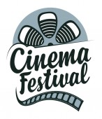 Vector icon for cinema festival with old film strip reel and calligraphic inscription Retro movie banner can be used for poster flyer billboard web page background ticket