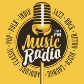 banner for music radio with golden microphone