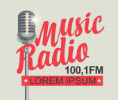 banner for music radio with silver microphone