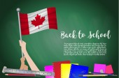 Vector flag of canada on Black chalkboard background Education Background with Hands Holding Up of canada flag Back to school with pencils books school items learning and childhood concept