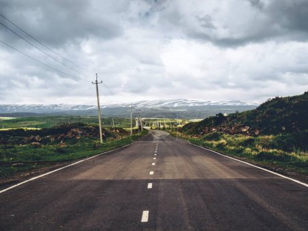 scenic shot of empty road with mountains on background, Armenia