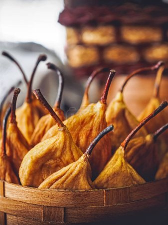 Photo for Close-up shot of tasty dried pears in basket - Royalty Free Image