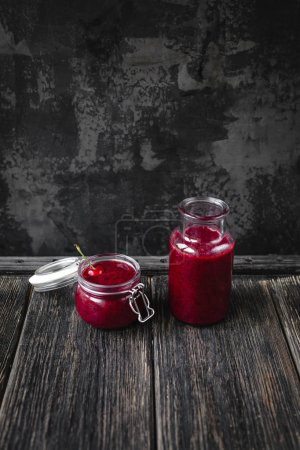 Fresh healthy smoothie with cherry on rustic table
