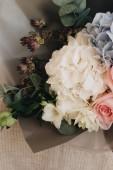 """Постер, картина, фотообои """"Красивый весенний букет с цветами нежные розовые и голубые Гортензия"""""""