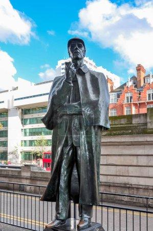 Sherlock Holmes statue on Baker street, London, UK