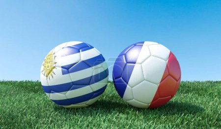 Two soccer balls in flags colours on green grass. Uruguay and France. 3d image