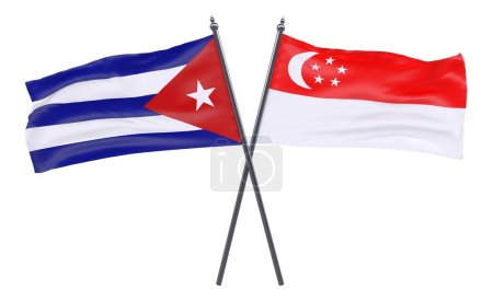 Havana and Singapore, two crossed flags isolated on white background