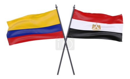 Egypt  and Colombia, two crossed flags isolated on white background