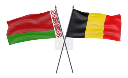 Belarus and belgium, two crossed flags isolated on white background