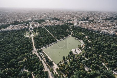 Aerial image of Madrid capital Spain from helicopter