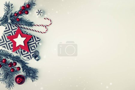 top view of Christmas decorations on white background in vintage colour