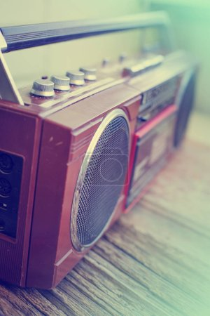 closeup view of vintage record player for cassettes