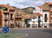 Old buildings located in the Ronda Damaso Toran road in the Teruel, Spain, at sunny summer day