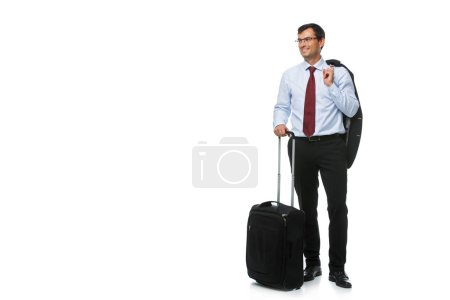 Photo for Handsome businessman in suit with travel suitcase isolated on white background. studio sht. copy space. - Royalty Free Image