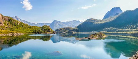 Photo for Fjord and mountains in Lofoten in Norway - Royalty Free Image