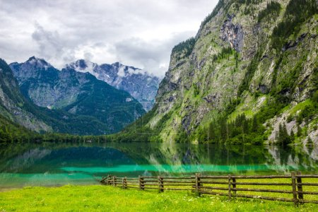 Photo for Clouds over mountain lake Obersee in Germany in Alps - Royalty Free Image