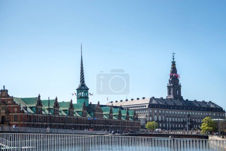 COPENHAGEN, DENMARK - MAY 6, 2018: urban scene with historical architecture and Christiansborg Palace in copenhagen, denmark