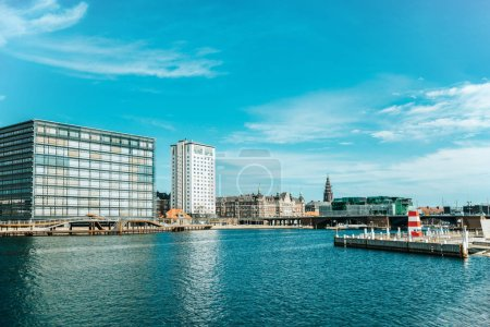 scenic view of city river and architecture of copenhagen, denmark
